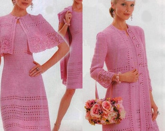 Femmes costume crochet robe trois pièces, manteau et cape / sur commande