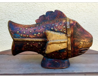 Vintage Wood & Brass Fish Sculpture