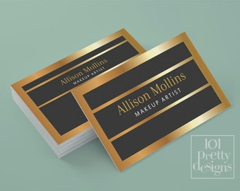 Makeup artist business card, premade business card, custom business card design, printable business card template, elegant business card