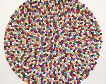 Felt ball rug - Kameleon | Multicolor | Filzkugelteppich (fast shipping)