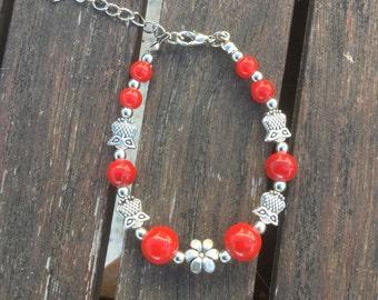 Red Tibetan silver bracelets