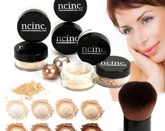 8pc Naked Skin Mineral Makeup Set (Large) by NCinc. Includes Foundation, Blusher, Bronzer, Concealer, Corrector, Miracle Veil + Kabuki Brush