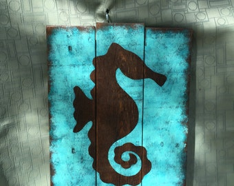Seahorse Wall Decor - painted seahorse on wood