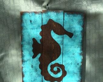 Rustic Seahorse Wall Decor