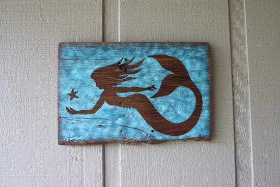 Mermaid Art On Wood Wall Decor New Design By Nayscreations77