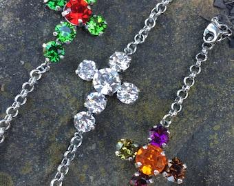Assorted swarovski sideways cross bracelets