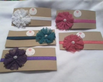 Lace Flower Elastic Headband- Your Choice of Color