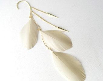 Light beige gold dusted feathers...gold spikes...ear-cuff....long chain ear cuff. Ear wrap, Ear jacket.Sahara. UK seller