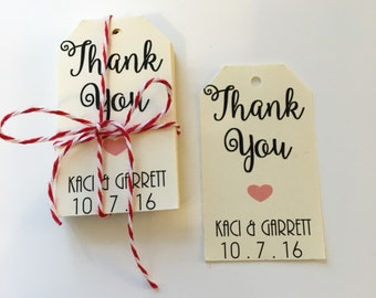 THANK YOU / Personalized Gift Tags with Pre Cut Twine / Custom Wedding Favor Tags, Shower Tags, Party Tags