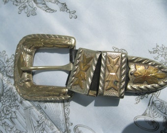 Alpaca Mexico Silver and Gold Buckle set