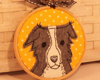 Border collie hoop art applique free motion embroidery, gift, dog