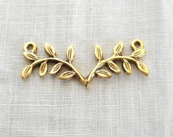 1 antique gold plated pewter fern, twig, connector bar, Nunn Designs, 32 x 12mm, C5601