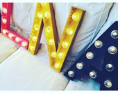Light letter, marked letter, letter sign 50 cm customizable: colors, bulbs, glitter and origami paper