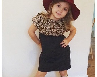 Girls peasant dress, girls fall dress, cheetah print dress,cheetah print, birthday outfit, toddler fashion, newborn outfit, picture outfit
