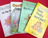 Four Garfield Black and White Cartoon Illustrated Comic Strip Paperback Ravette Books 1970s 1980s Cartoons Jim Davis Cat Cats