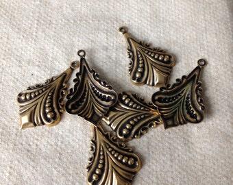 Destash 6 Art Deco Earring or Pendant Finding in Antiqued Polished Brass