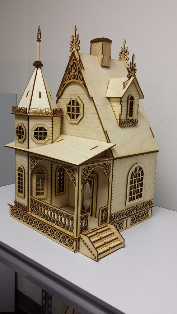 Laser cut jasmine gothic victorian cottage dollhouse 1 24 Victorian cottages kit homes