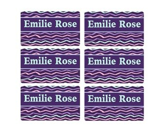 95ct Stick On Clothing Name Labels, Clothing Labels, Personalized Uniform Name Labels, Purple Plum Camp Labels-Peel and Stick Clothing Label
