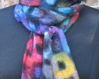 nuno felted scarf, fine merino wool and silk, handmade, mulitcolored, geometric pattern.
