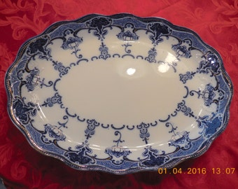 """Flow Blue Platter by Bishop & Stonier in the Lawrence Pattern 16 1/2"""""""
