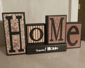 Home Sweet home wood sign - Wooden block - Personalized wood sign - Home sweet home blocks - Family present - christmas gift