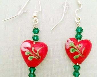 Beaded Earrings- Hand Painted- Green Bead Earrings,  Gold Bead Earrings, Red Bead Earrings- Purple Bead Earrings- White Bead Earrings