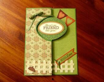 Friendship Greeting Card, Handmade 5x7 Friendship Card, Interactive Swing Card, Fun Encouragement Card,  Paper Handmade Greeting Card