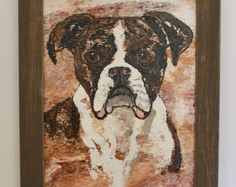 Abstract Boxer Dog Painting. Brindle Boxer Dog Portrait, Boxer original Wall Art, Framed Boxer Dog Wall Art
