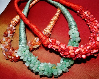 Set of vintage style necklaces with coral, Carnelian, Aventurine gemstones