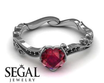 Alternative Engagement Ring White Gold Ruby Ring Vintage Engagement Ring Victorian Ring Art Deco Ring Alternative Engagement Ring - Sophie
