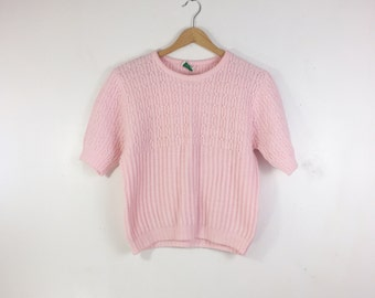 Cute Pink Short Sleeve Sweater | Vintage Sweater | Cropped Sweater | Fall | Small | Medium