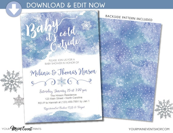 Baby It's Cold Outside Baby Shower Invitation - Snowflake Baby Shower Invite - Christmas Winter Wonderland Baby Shower -Instant Download