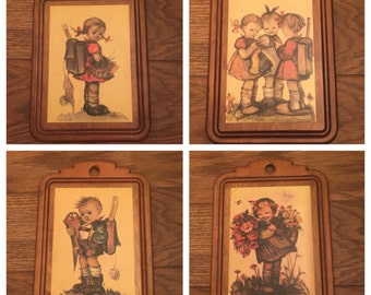Cute childrens wall hangings, kitch, 1970s art