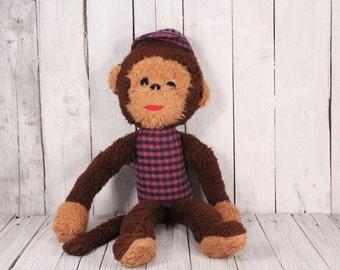 Monkey Plush Toy, Vintage Stuffed Monkey, Animal Toy Monkey with Cap, Monkey Circa 1970-70's, Brown Monkey, Bellhop Monkey, Vintage Chimp