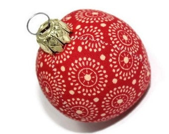 Christmas ball red cream mini 4 cm fabric ball unbreakable bauble Christmas ornament ball
