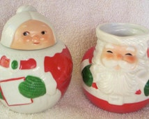 Vintage Santa and Mrs Claus Creamer and Sugar Bowl, Avon 1983
