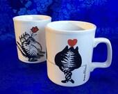 2 Vintage 70's Kliban Kilncraft Cat Coffee Mugs Cups England