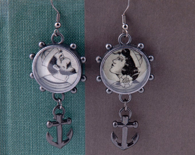 Ahoy, Sailor and Sailor Girl Earrings with Pewter Anchor