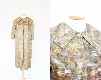 Vintage Abstract Gold Cocoon Evening Coat