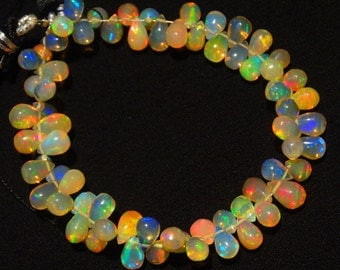 Natural Ethiopian Welo Opal Rare Drop Shape Briolettes 4x6MM Approx. 6 Inch Full Strand Ultimate Quality Super Rainbow Electric Fire Play