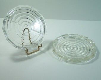 Transparent glass coaster  vintage Made in France
