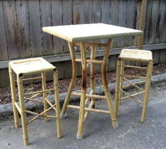 Bamboo Square Table: Tahiti Square Bamboo Bar Bistro Table 28W X 42H