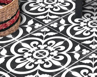 Vinyl Floor Tile Sticker - Floor decals - Carreaux Ciment Encaustic Corona Tile Sticker Pack in Black