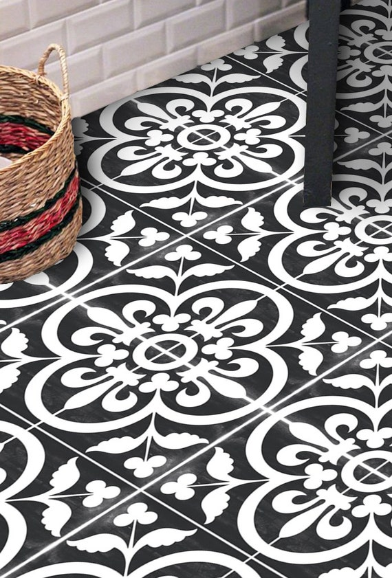 vinyl floor tile sticker floor decals carreaux ciment. Black Bedroom Furniture Sets. Home Design Ideas