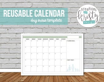 Reusable, Perpetual Monthly Calendar, Printable