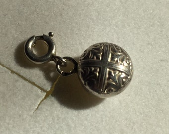 Delightful Antique French Silver Puffy Round Charm Pendant For Bracelet With Clasp.