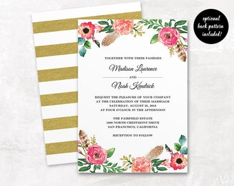 Floral Wedding Invitation Template, Printable Wedding Invitation Suite, Editable Text, Budget Invitation, Instant download, Peony Flowers