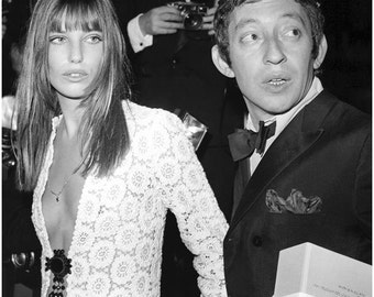 Jane Birkin and Serge Gainsbourg 60's Fashion Icons Stretched Canvas Art Movie Poster Choice of sizes available.
