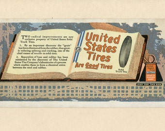 United States Tire Company Advertising Ink Blotter Solid Rubber Truck Tires Used Automobile History Book Ephemera - 5979d