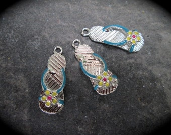 Flip Flop charms with Rhodium Finish and blue and yellow enamel accents Package of 3 charms
